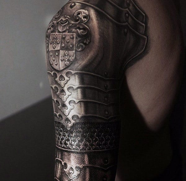 Full Sleeve Armor Tattoos Designs For Males