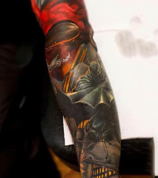Full Sleeve Batman Themed Tattoos For Guys