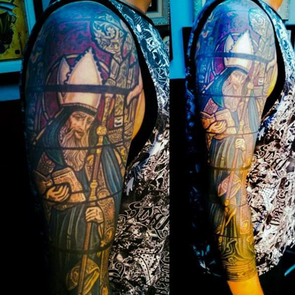 Full Sleeve Bishop Mens Stained Glass Tattoo Designs