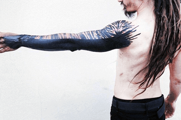 Full Sleeve Blackwork Abstract Tattoos For Men