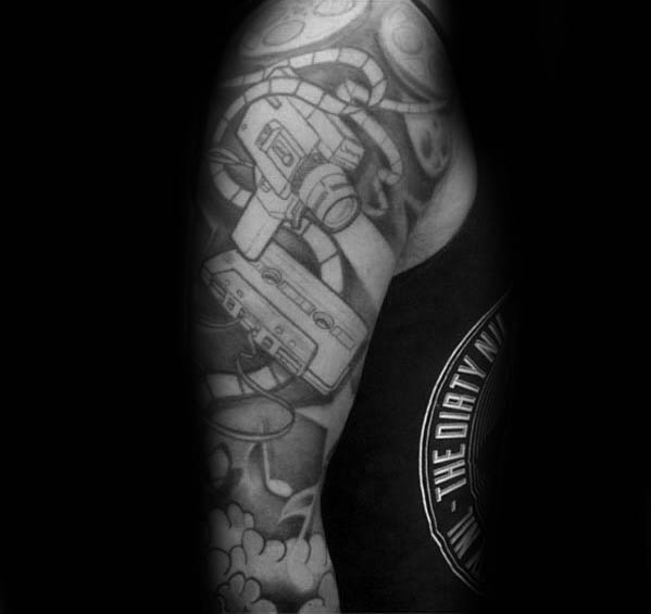 654a95d32954a 50 Cassette Tape Tattoo Designs For Men - Retro Ink Ideas