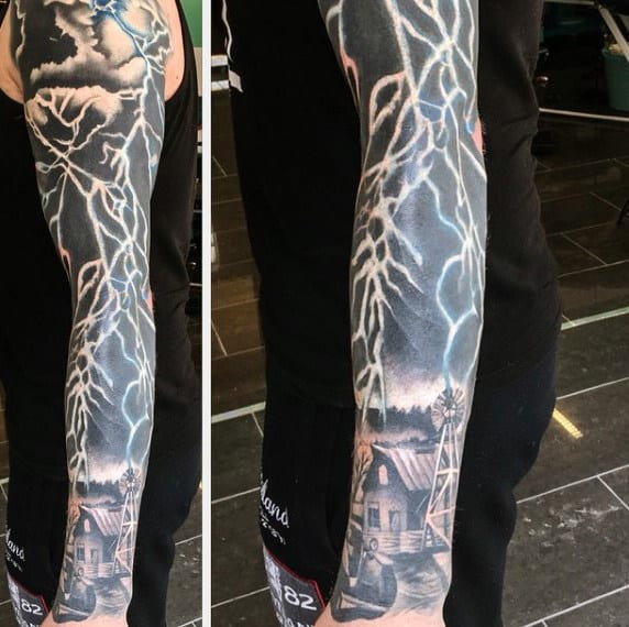 Full Sleeve Cool Lightning Tattoos For Men
