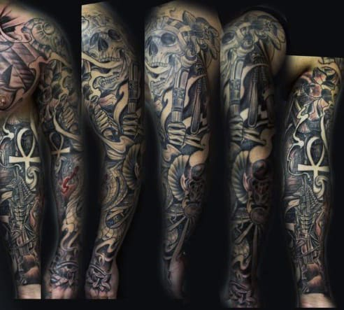 Full Sleeve Egyptian Themed Ankh Male Tattoos