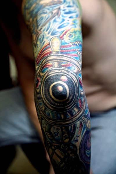 Full Sleeve Elbow Ship Wheel Tattoo For Men