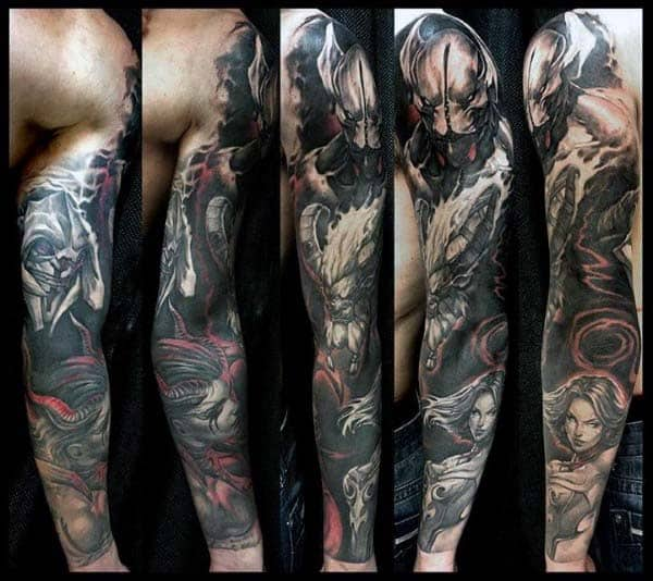 Full Sleeve Extreme Sleeve Tattoo On Gentleman