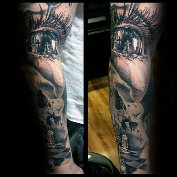 Full Sleeve Eye With Crosses King Chess Piece Mens Tattoos
