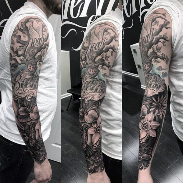 Full Sleeve Family Tree Tattoos For Men