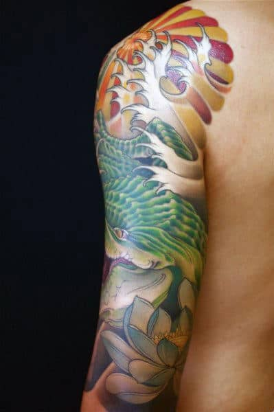 Full Sleeve Floral Japanese Dragon Sun Tattoos For Guys
