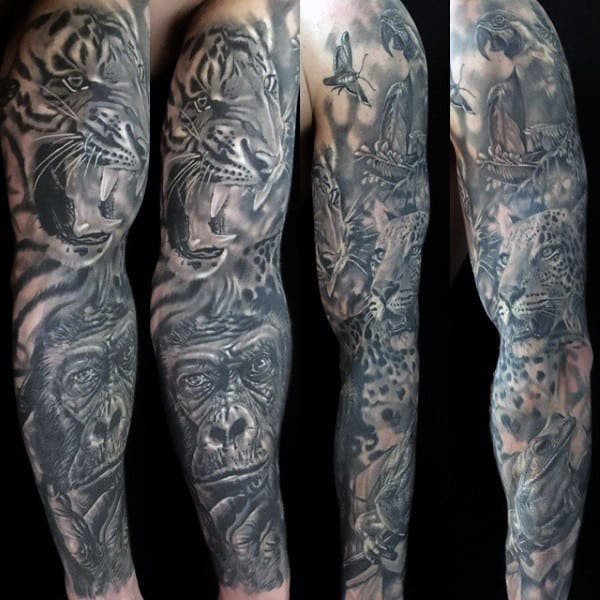 Full Sleeve Forest Tattoo For Men With Gorilla