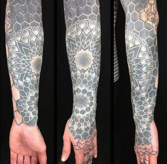 Full Sleeve Geometric Male White Ink Tattoo Design Ideas