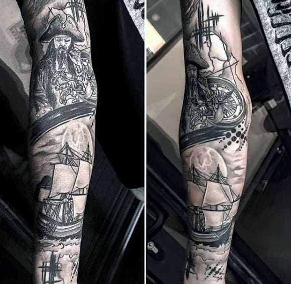 Full Sleeve Ghost Pirate Ship Tattoo Men