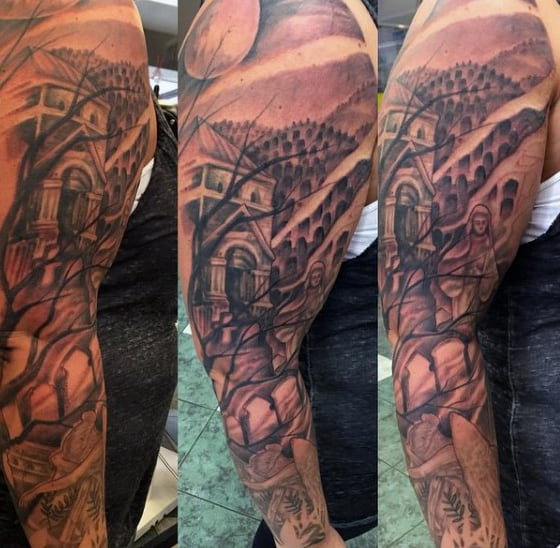 Full Sleeve Grave Tattoos Male