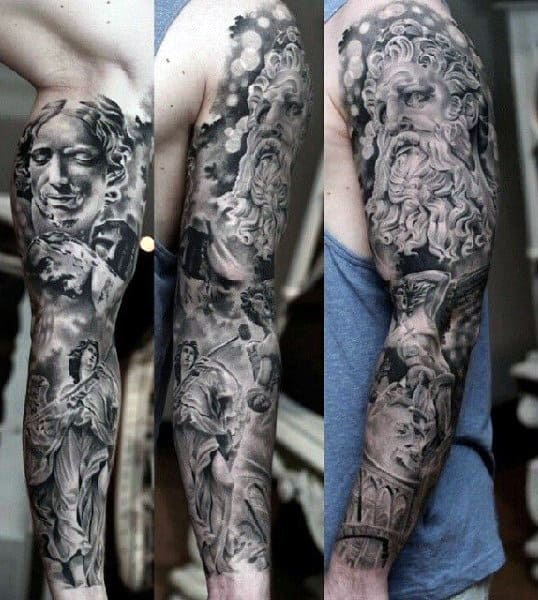 Full Sleeve Greek Style Men's Tattoos