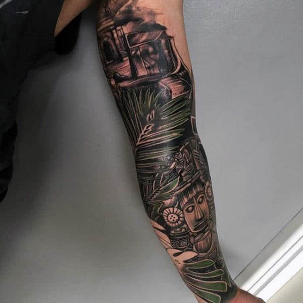 Full Sleeve Green Branches Mayan Mens Tattoos