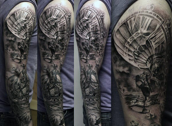 70 hot air balloon tattoo designs for men basket full of ideas full sleeve grey and black guys hot air balloon tattoo design ideas gumiabroncs Gallery