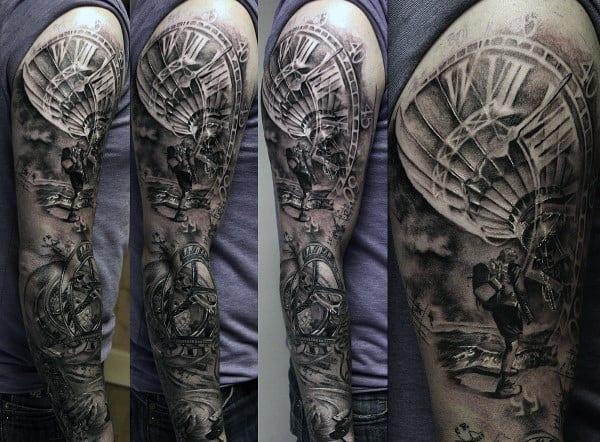 Full Sleeve Grey And Black Guys Hot Air Balloon Tattoo Design Ideas