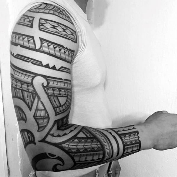 Full Sleeve Guys Arm Polynesian Tribal Tattoo Inspiration