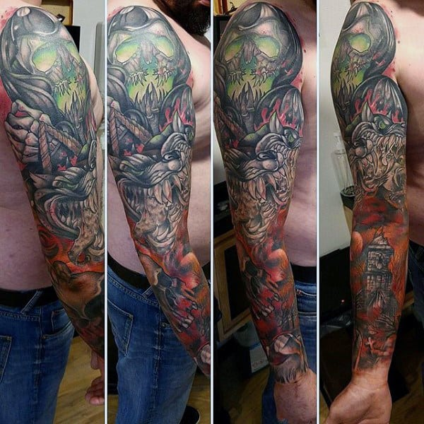 Full Sleeve Guys Cerberus Themed Tattoo Designs