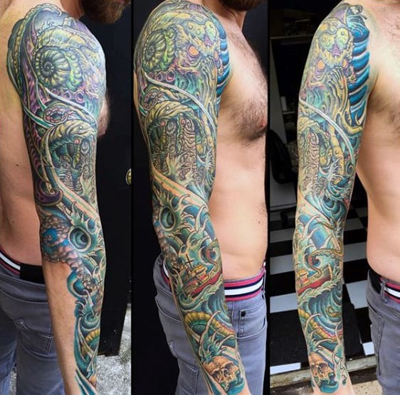 Full Sleeve Guys Cthulhu Tattoo Design Ideas