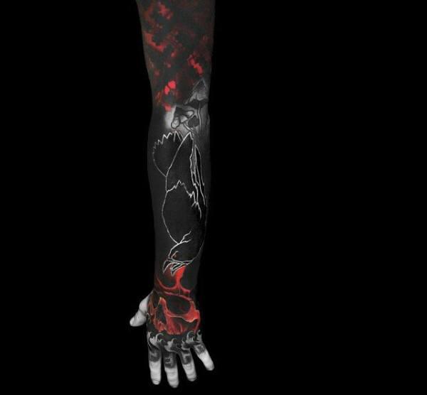 Full Sleeve Guys Inked Black Raven And Red Skull Tattoos