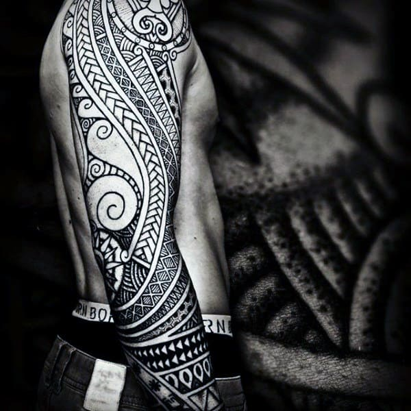 Full Sleeve Guys Maori Art Tattoo
