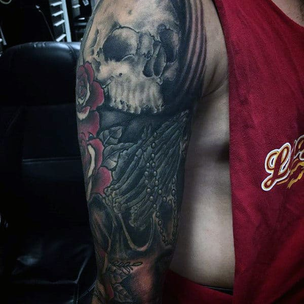Full Sleeve Guys Praying Hands Tattoo With Skull