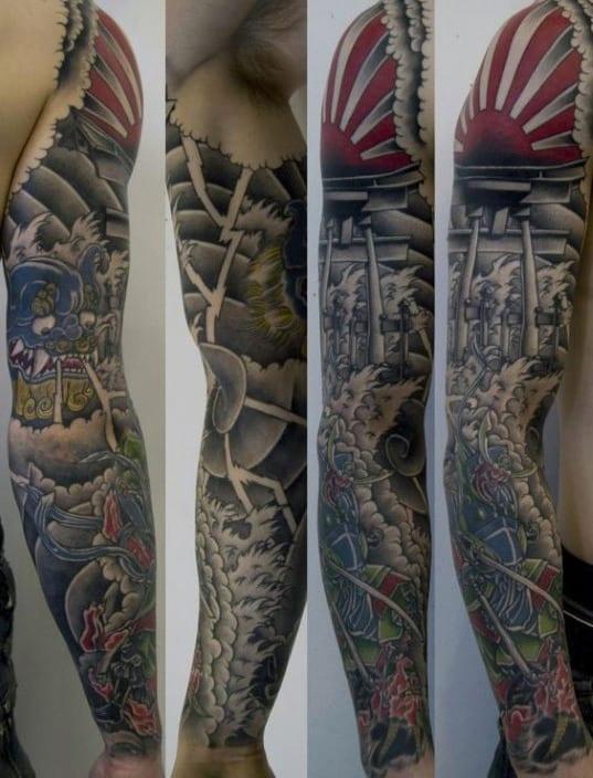 Full Sleeve Guys Rising Sun Japanese Tattoo Inspiration