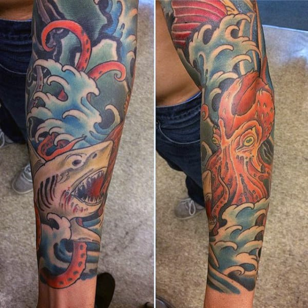 Full Sleeve Guy's Shark Arm Tattoo