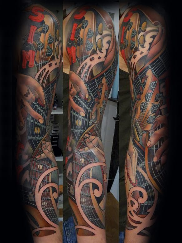 Full Sleeve Hands Playing Guitar Mens Music Sleeve Tattoos