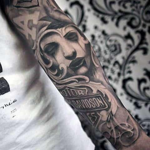 Full Sleeve Harley Davidson Detailed Guys Tattoos