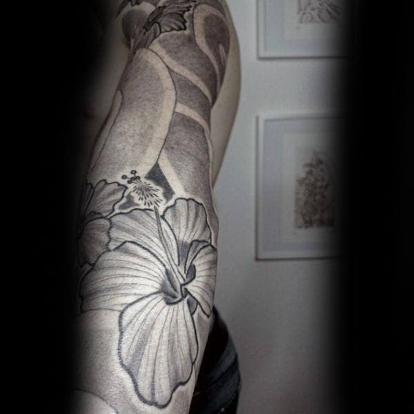 Full Sleeve Hibiscus Guys Dotwork Tattoo Inspiration