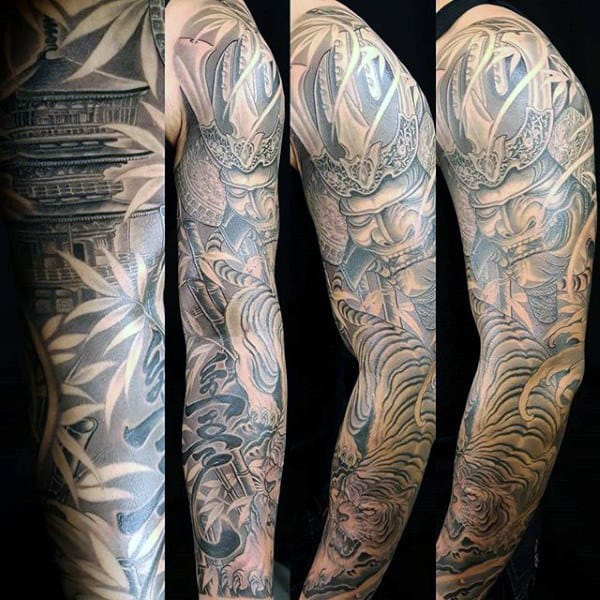 Full Sleeve Japanese Bamboo Mens Tattoos