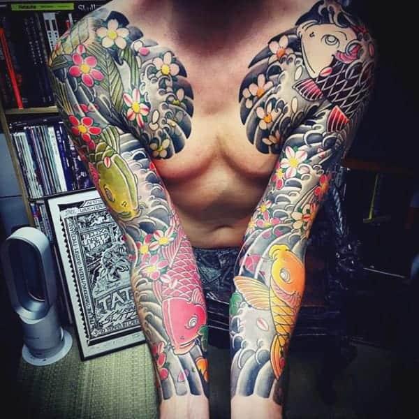 full-sleeve-japanese-koi-fish-tattoo-for-men