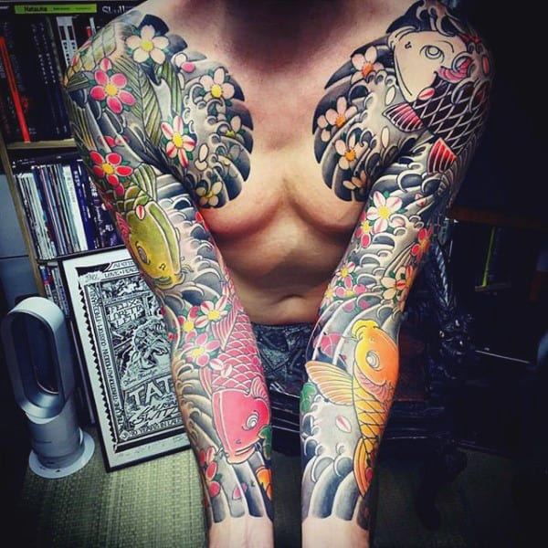 Full Sleeve Japanese Koi Fish Tattoo For Men