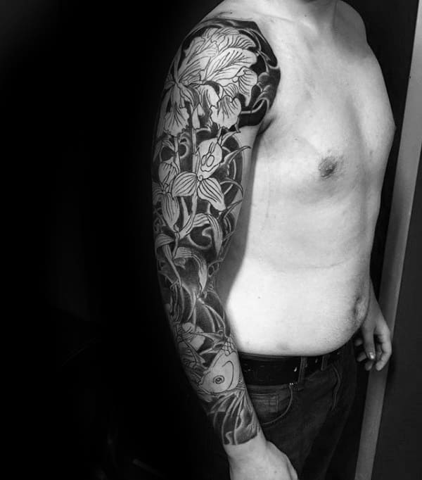 Full Sleeve Japanese Male Orchid Tattoo Designs