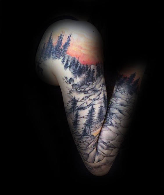 Full Sleeve Landscape Mountains With Sunset Tattoo On Man