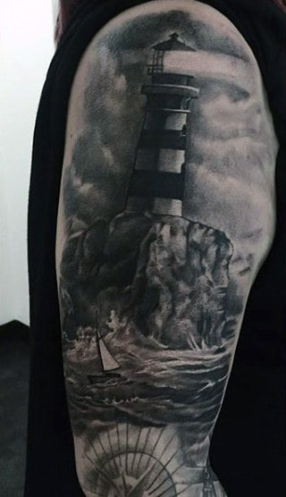 Full Sleeve Lighthouse Up On Rocks Male Tattoo