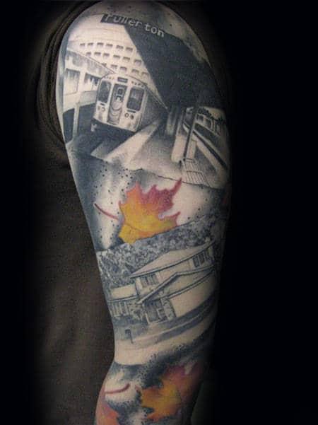 Full Sleeve Male Artistic Photograph Tattoo Design