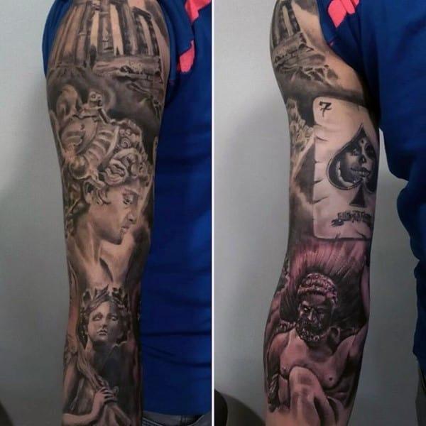 Full Sleeve Male Atlas Tattoo Design Ideas With Greek Theme