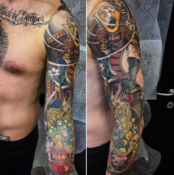 Full Sleeve Male Daruma Doll Tattoo Ideas