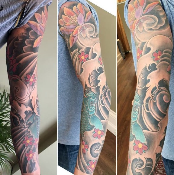 Full Sleeve Male Japanse Cherry Blossom Tree Tattoo
