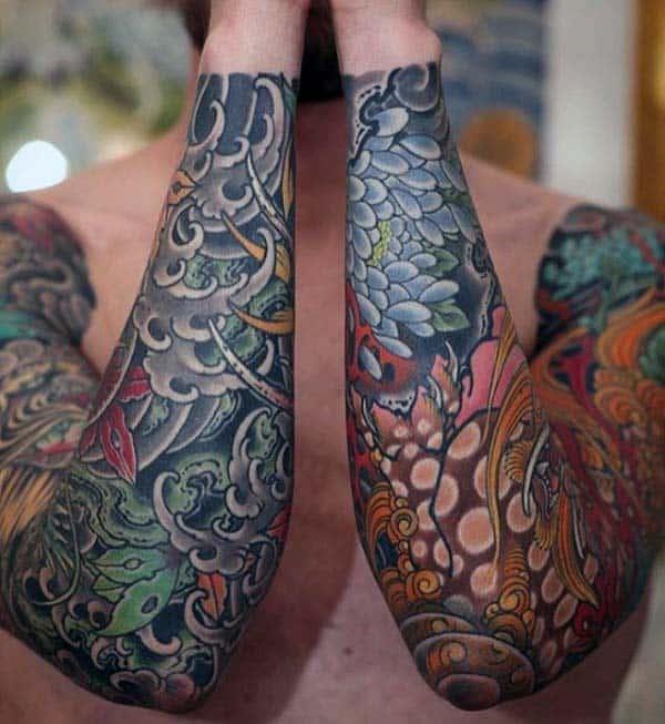 Full Sleeve Male Nice Japanese Tattoo Design Inspiration