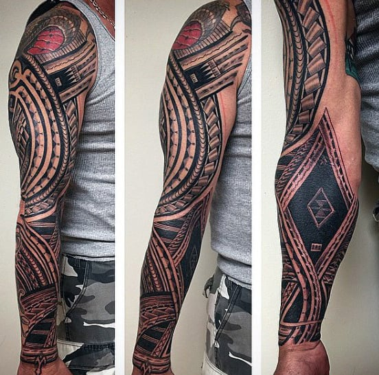 Full Sleeve Male Samoan Tattoo Ideas