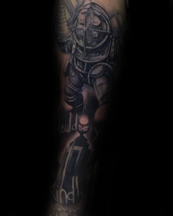 Full Sleeve Masculine Mens Bioshock Themed Tattoo Inspiration