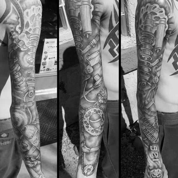 Full Sleeve Mechanical Motocross Guys Tattoos