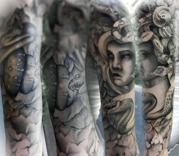 Full Sleeve Medusa Snake Head Mens Tattoos