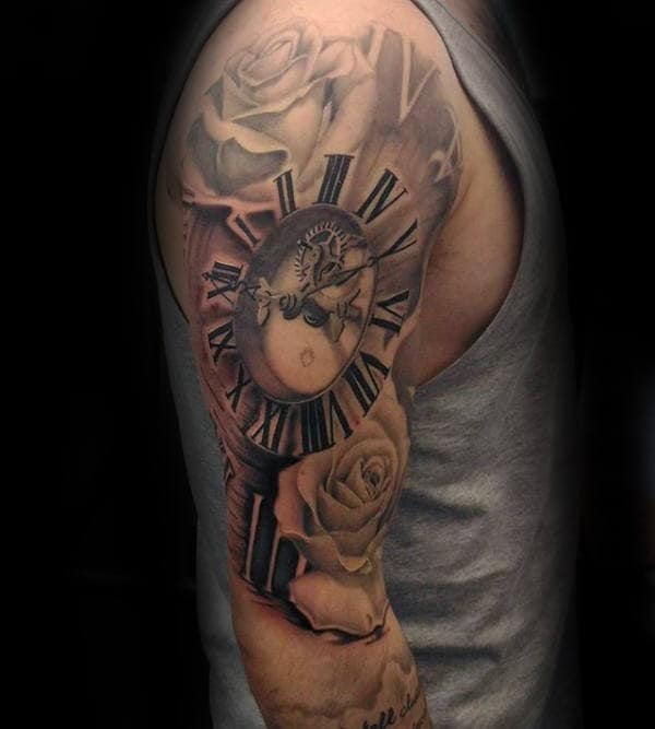 Full Sleeve Mens Clock Roman Numeral Tattoo