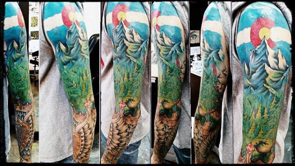 Full Sleeve Mens Colorado Themed Tattoo Designs