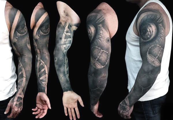 Full Sleeve Mens Dna Science Tattoo In Black Ink