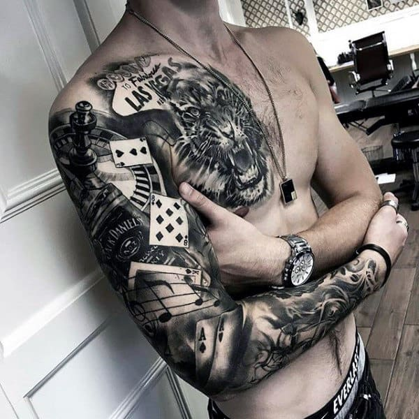 Full Sleeve Mens Jack Daniels Tattoo Design Ideas